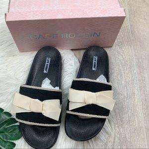 Cape Robbin Shoes - Cape Robbin Seersucker Bow Black Sandals Slides